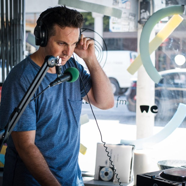 Dan Digs DJing on Day 2 of Gilles Peterson's Worldwide FM pop-up station in DTLA