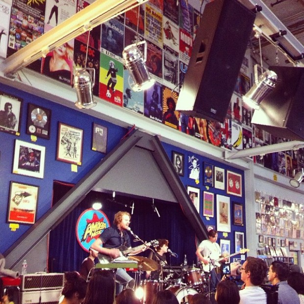 Perfect harmonies. The Belle Brigade in-store show at Amoeba Music in Hollywood.