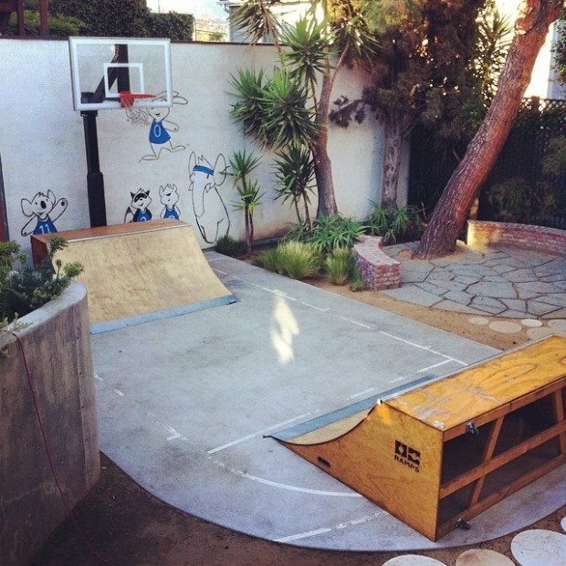 Skate ramp and basketball court at Dangerbird Records in Silver Lake.